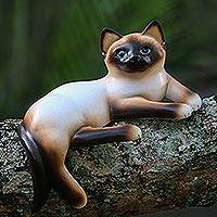 Wood statuette, 'Playful Siamese Kitten' - Wood statuette