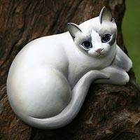Wood statuette Friendly Kitten Indonesia