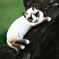 Wood statuette, 'Thoughtful Cat' - Wood statuette
