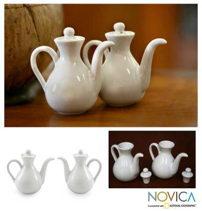 Ceramic oil and vinegar set, White Minimalism (pair)