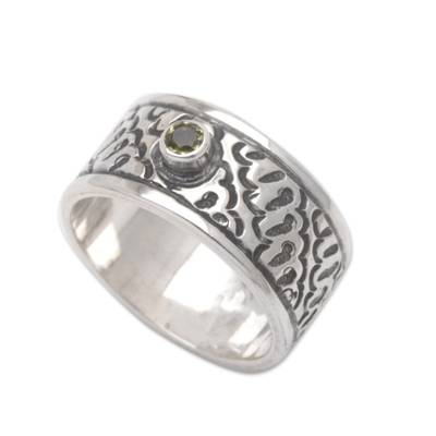 Peridot and Silver Handcrafted Balinese Band Ring