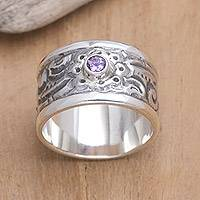 Amethyst band ring, 'Nature' - Hand Crafted Floral Silver and Amethyst Ring
