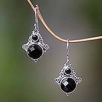 Onyx dangle earrings, 'Exotic' - Onyx Sterling Silver Dangle Earrings from Indonesia