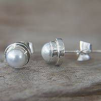 Pearl stud earrings, 'White Moon' - Handcrafted Silver and Pearl Stud Earrings