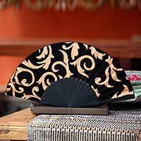 Silk batik fan, 'Black Bali Glory' - Silk batik fan