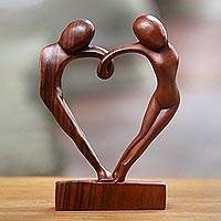 Wood sculpture, 'Loop of Love' - Unique Romantic Wood Sculpture