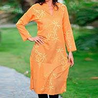 Cotton caftan, 'Orange Dragonfly Mysteries'