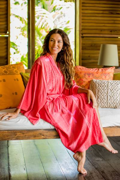 Women's batik robe, 'Kissed by Crimson' - Women's Fair Trade Indonesian Batik Robe