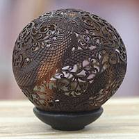 Coconut shell sculpture, 'Dragon Guardian' - Coconut Shell Carving from Indonesia