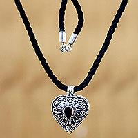 Garnet heart locket necklace, 'Secret Love' (Indonesia)