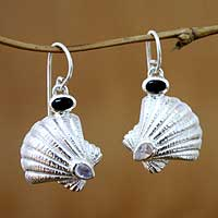 Rainbow moonstone and onyx earrings, 'Ocean Song' - Rainbow Moonstone and Onyx Shell Earrings