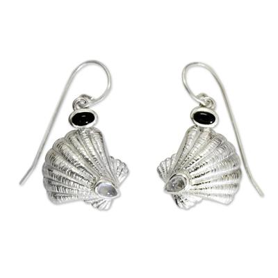 Rainbow Moonstone and Onyx Shell Earrings