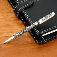 Sterling silver pen, 'Distinction' - Sterling Silver Pen
