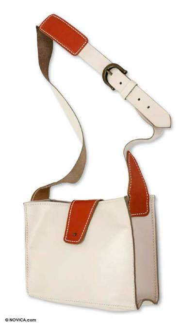 Leather shoulder bag, 'Tangerine Fling' - Unique Leather Sling Handbag