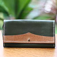 Leather purse, 'Verdant Hope' - Leather purse