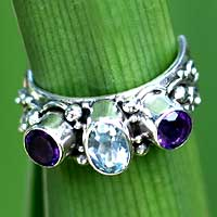 Blue topaz and amethyst wrap ring, 'Morning Colors' - Blue Topaz and Amethyst Ring