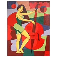 'Enjoyment' - Indonesian Cubist Fine Art