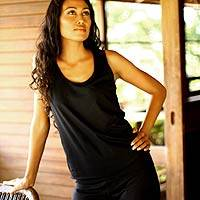 Cotton tank top, 'Classic Black' - Basic Cotton Tank Top