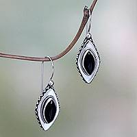 Onyx drop earrings, 'Diamond Sparkle' - Onyx drop earrings