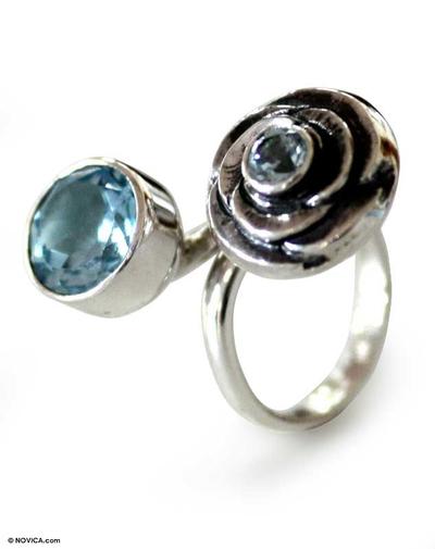 Blue topaz wrap ring