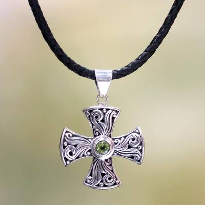 Men's peridot cross necklace, 'Light of Faith' - Men's Sterling Silver and Peridot Cross Necklace