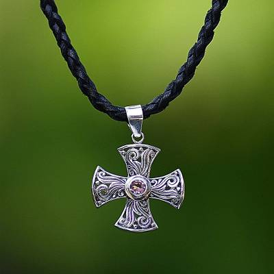 Men's amethyst cross necklace, 'Glow of Faith' - Men's Fair Trade Silver and Amethyst Cross Necklace