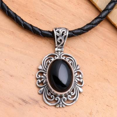 Onyx and leather pendant necklace, 'Midnight Sky' - Sterling Silver and Onyx Necklace from Indonesia