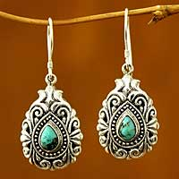Sterling silver dangle earrings, 'Blue Tear' (Indonesia)