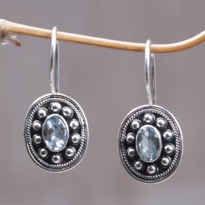 Blue topaz drop earrings, 'Harmony' - Blue topaz drop earrings