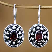 Garnet drop earrings, 'Harmony' - Garnet drop earrings