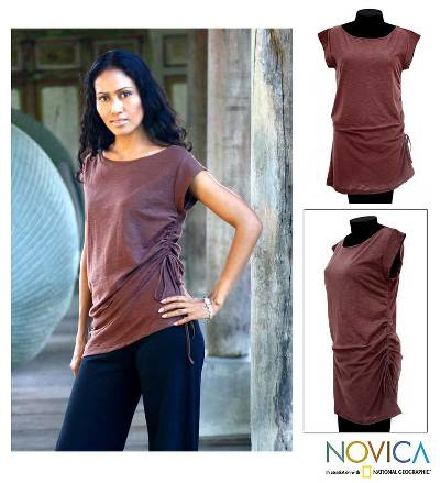 Cotton tunic, 'Side Cinch Brown' - Cotton Knit Tunic