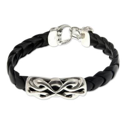 Artisan Crafted Braided Black Leather Sterling Silver Pendant Bracelet