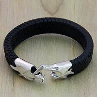 Mens leather braided bracelet, Hand in Hand