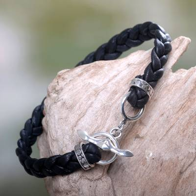 Men's leather braided bracelet, 'Time' - Men's Leather Braided Bracelet