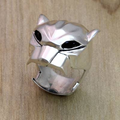 Men's onyx ring, 'Jaguar' - Men's Sterling Silver and Onyx Jungle Cat Ring