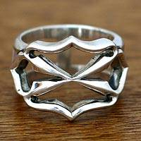 Men's sterling silver ring, 'Brave Knights' - Men's Sterling Silver Band Ring