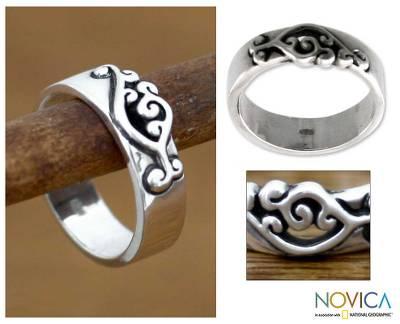 Men's sterling silver band ring, 'Serenade' - Men's Sterling Silver Band Ring