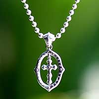 Sterling silver cross necklace, 'Sacred Faith'