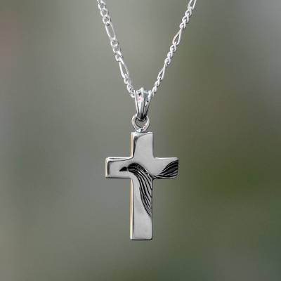 Men's sterling silver necklace, 'Heavenly Peace' - Men's Sterling Silver Religious Necklace