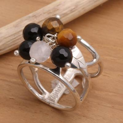 Tiger's eye and onyx cocktail ring