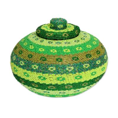 Green Beadwork Rattan Basket