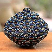 Beaded rattan jewelry box, 'Hypnotic Diamond' - Indonesian Hand Beaded Natural Fiber Basket