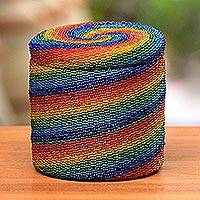 Beaded rattan basket, 'Rainbow Whirlpool' - Beaded Hand-Woven Natural Fiber Storage Basket