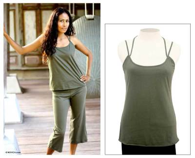 Cotton tank top, 'Carefree Olive' - Cotton Casual Knit Tank Top