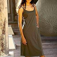 Cotton sundress, 'Chic Olive' - Cotton sundress