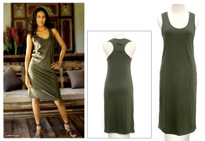 Cotton sundress, 'Classic Olive' - Cotton Casual Sundress