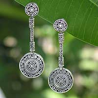 Sterling silver dangle earrings, 'Kingdom Coins' - Sterling Silver Good Fortune Dangle Earrings