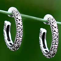 Sterling silver hoop earrings, 'Cloud Hoop' (medium) - Sterling Silver Half Hoop Earrings (Medium)