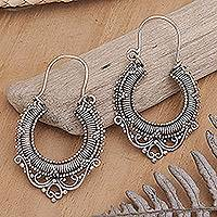 Sterling silver hoop earrings, 'Pure Signs' - Sterling Silver Half Hoop Earrings from Indonesia