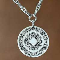 Sterling silver long pendant necklace, 'Coins of the Kingdom' - Handcrafted Indonesian Sterling Silver Pendant Necklace